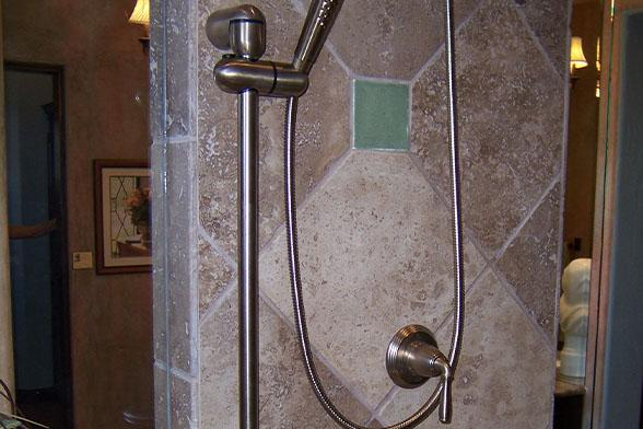 ADA remodeling in Denver bathroom with shower with grab bar