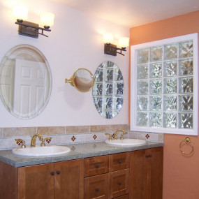 New double sink and vanity bathroom remodeling in Morrison, CO