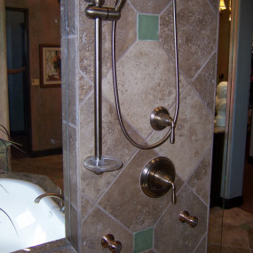 Bathroom renovation in Lakewood, CO, with ADA remodeling a shower with grab bar