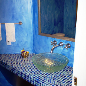 Arvada bathroom remodel with blue accents